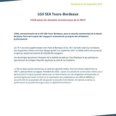 [Communiqué] LISEA salue les résultats commerciaux de la SNCF